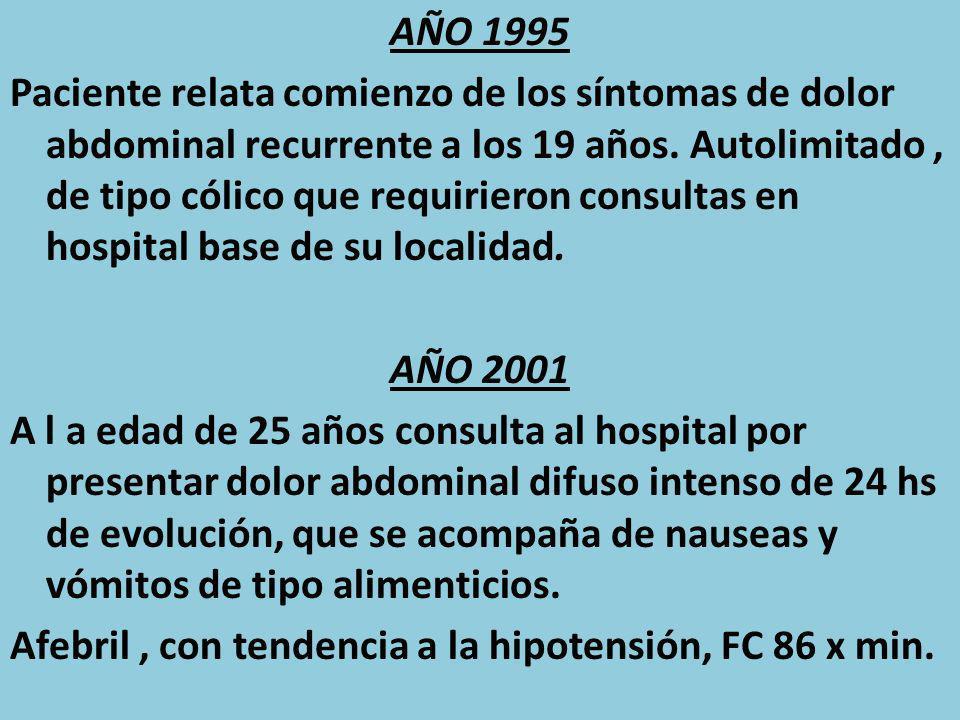 AÑO 1995 Paciente relata comienzo de los síntomas de dolor abdominal recurrente a los 19 años.