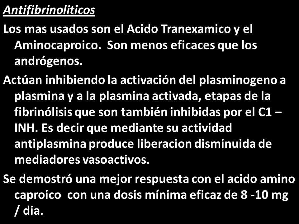 Antifibrinoliticos Los mas usados son el Acido Tranexamico y el Aminocaproico.