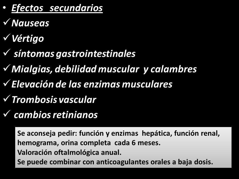 síntomas gastrointestinales Mialgias, debilidad muscular y calambres