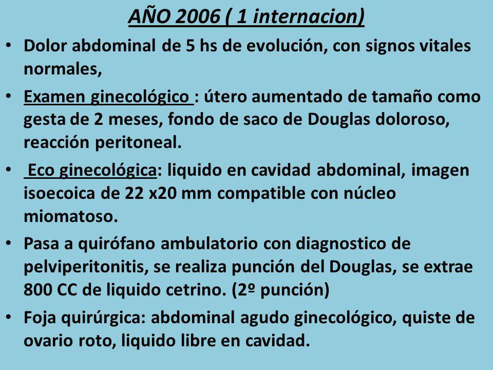 AÑO 2006 ( 1 internacion) Dolor abdominal de 5 hs de evolución, con signos vitales normales,