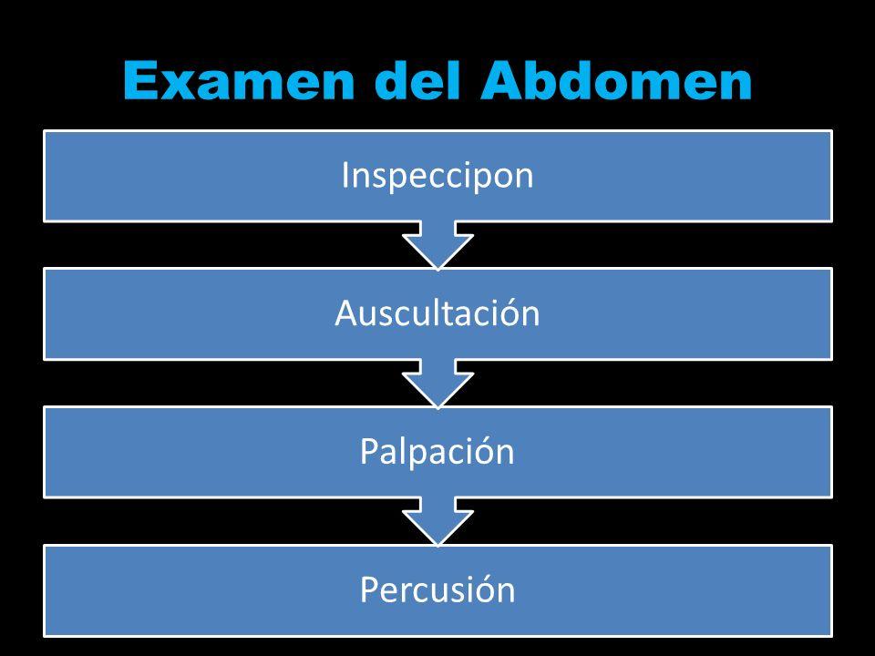 Examen del Abdomen Inspeccipon Auscultación Palpación Percusión