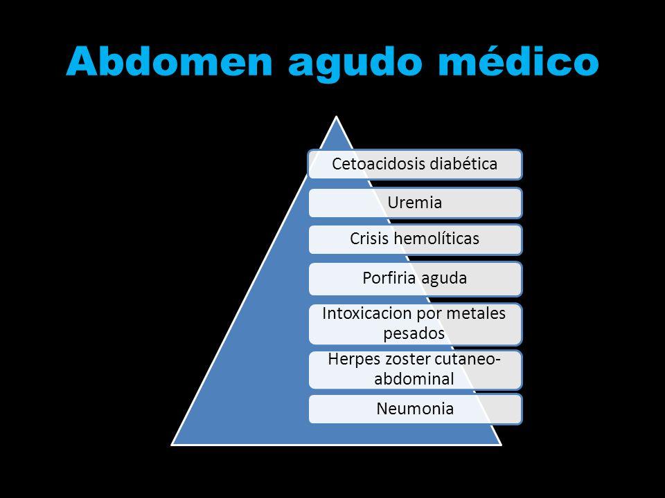 Abdomen agudo médico Cetoacidosis diabética Uremia Crisis hemolíticas