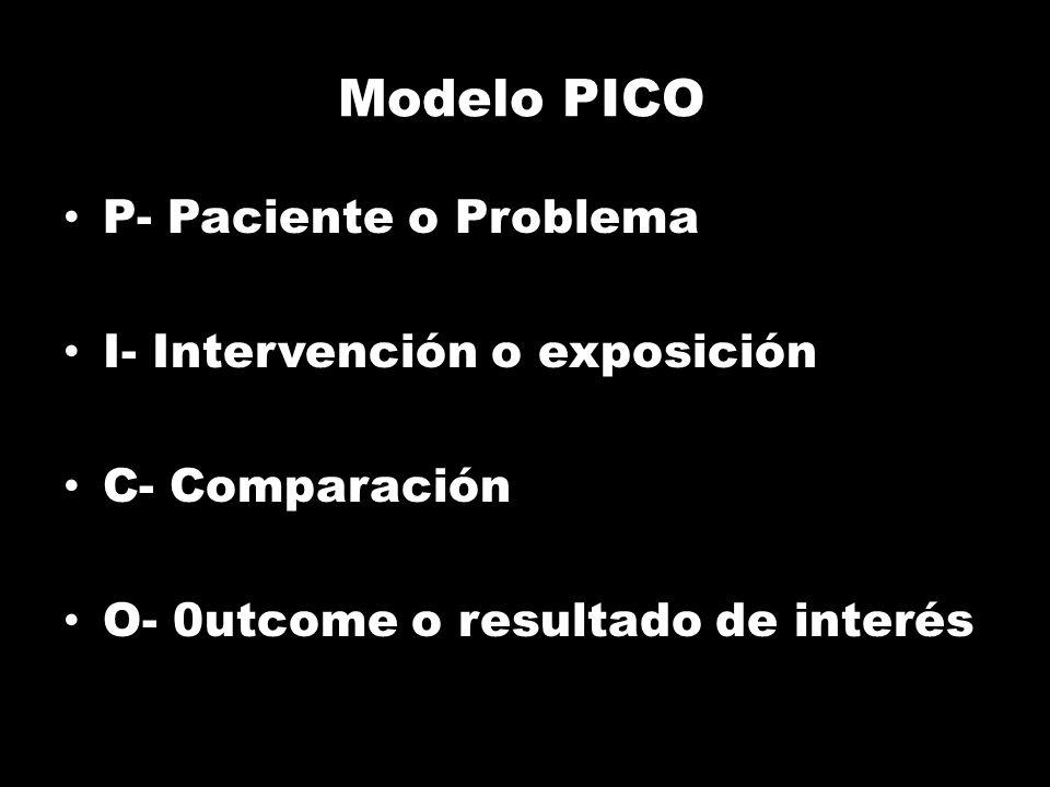 Modelo PICO P- Paciente o Problema I- Intervención o exposición