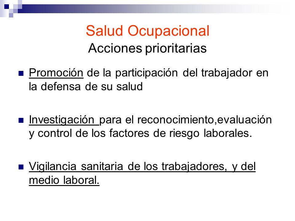 Salud Ocupacional Acciones prioritarias