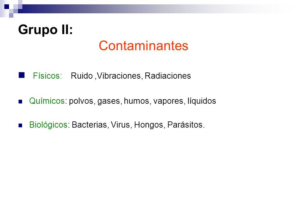 Grupo II: Contaminantes
