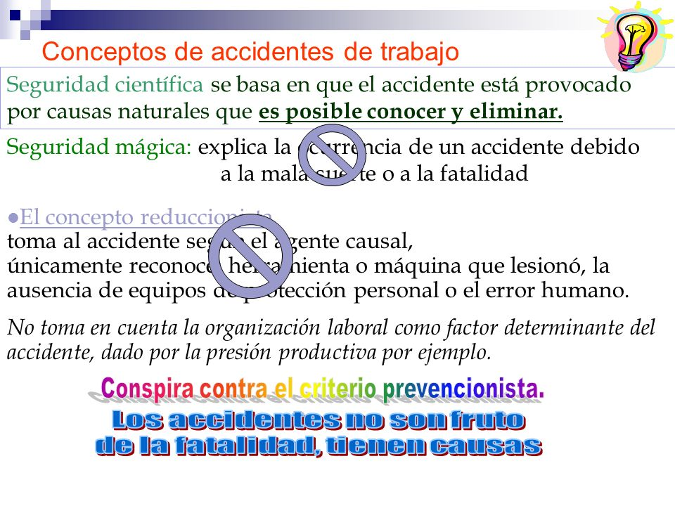 Conceptos de accidentes de trabajo