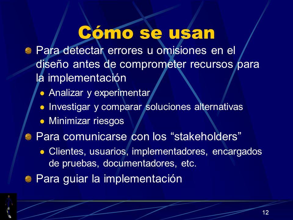 Cómo se usan Para detectar errores u omisiones en el diseño antes de comprometer recursos para la implementación.