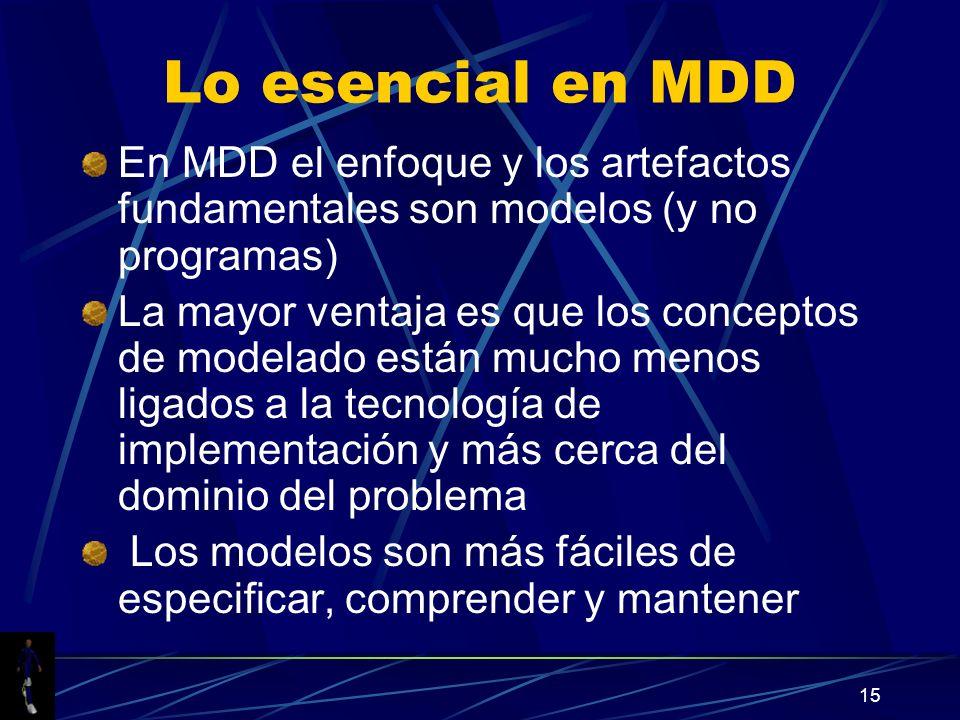Lo esencial en MDD En MDD el enfoque y los artefactos fundamentales son modelos (y no programas)