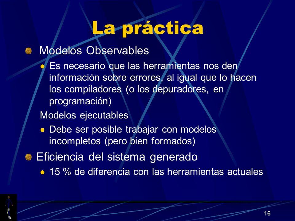 La práctica Modelos Observables Eficiencia del sistema generado