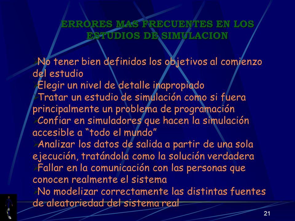 ERRORES MAS FRECUENTES EN LOS ESTUDIOS DE SIMULACION