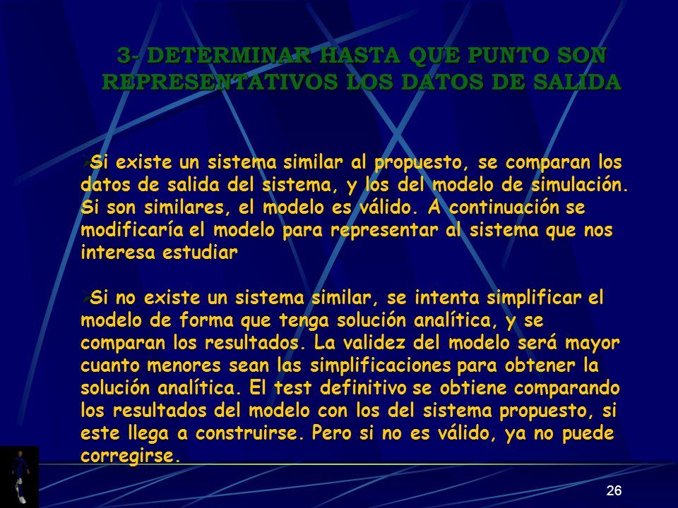 3- DETERMINAR HASTA QUE PUNTO SON REPRESENTATIVOS LOS DATOS DE SALIDA