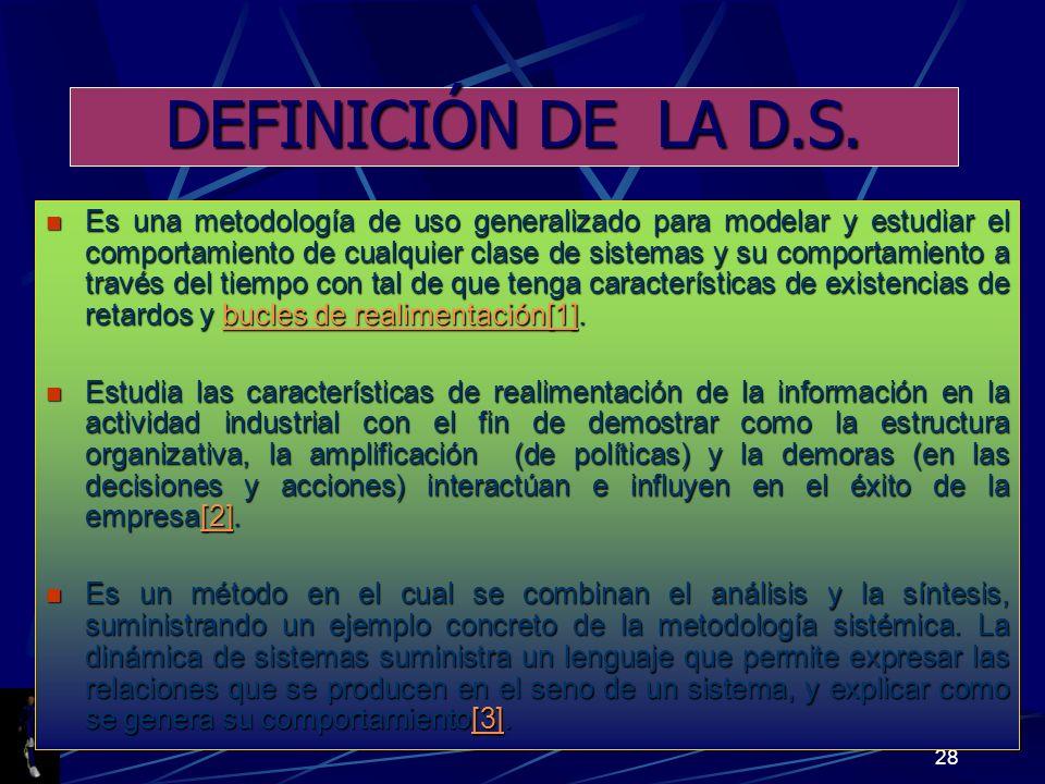 DEFINICIÓN DE LA D.S.