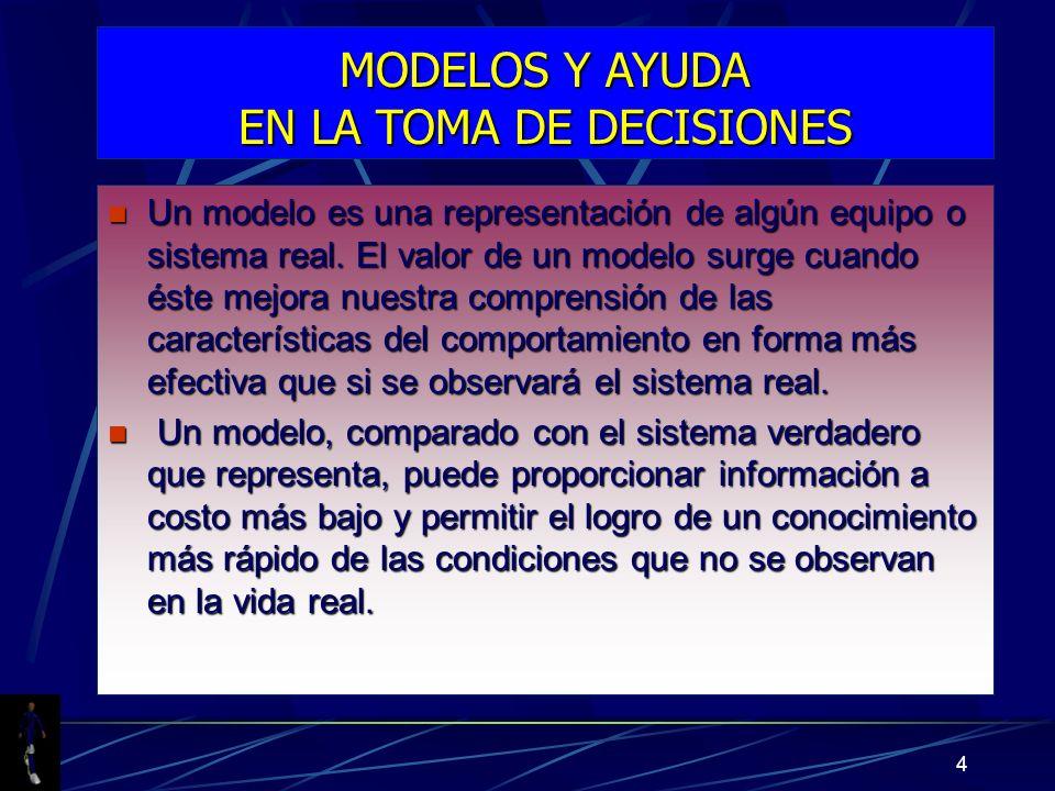 MODELOS Y AYUDA EN LA TOMA DE DECISIONES