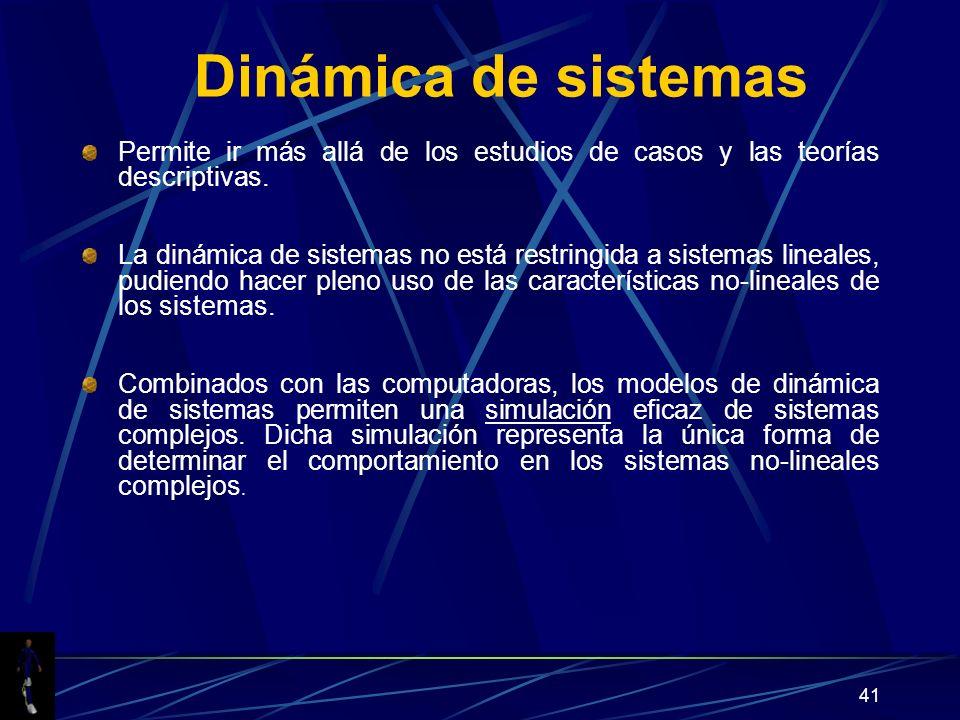 Dinámica de sistemas Permite ir más allá de los estudios de casos y las teorías descriptivas.