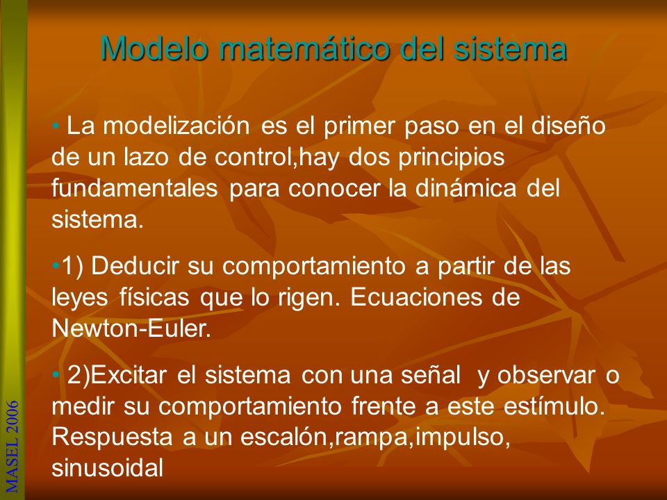 Modelo matemático del sistema