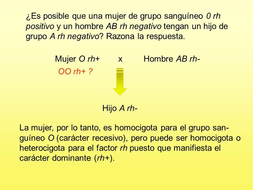 Mujer O rh+ x Hombre AB rh-