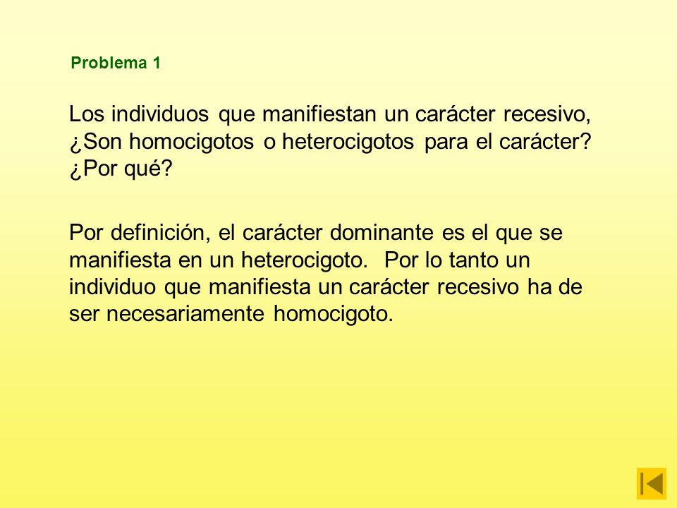 Problema 1 Los individuos que manifiestan un carácter recesivo, ¿Son homocigotos o heterocigotos para el carácter ¿Por qué