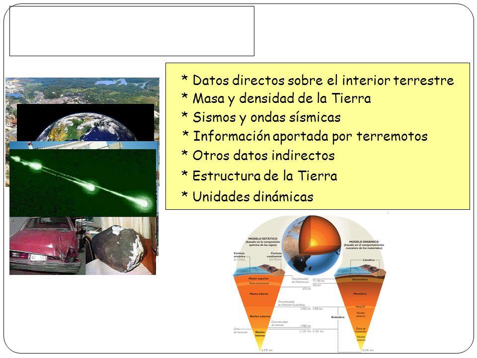 * Datos directos sobre el interior terrestre