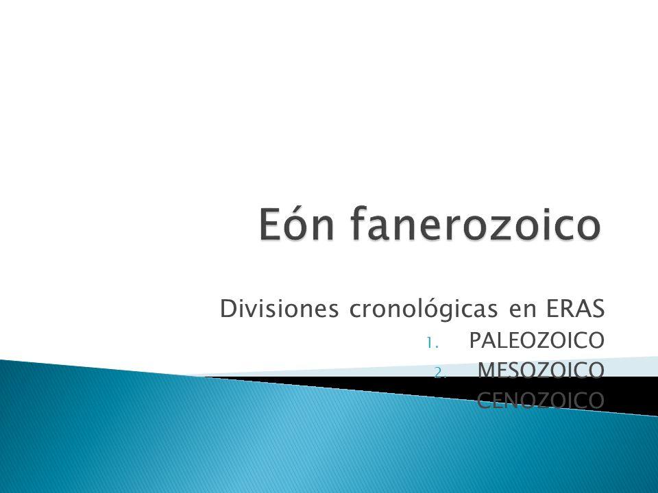 Divisiones cronológicas en ERAS PALEOZOICO MESOZOICO CENOZOICO