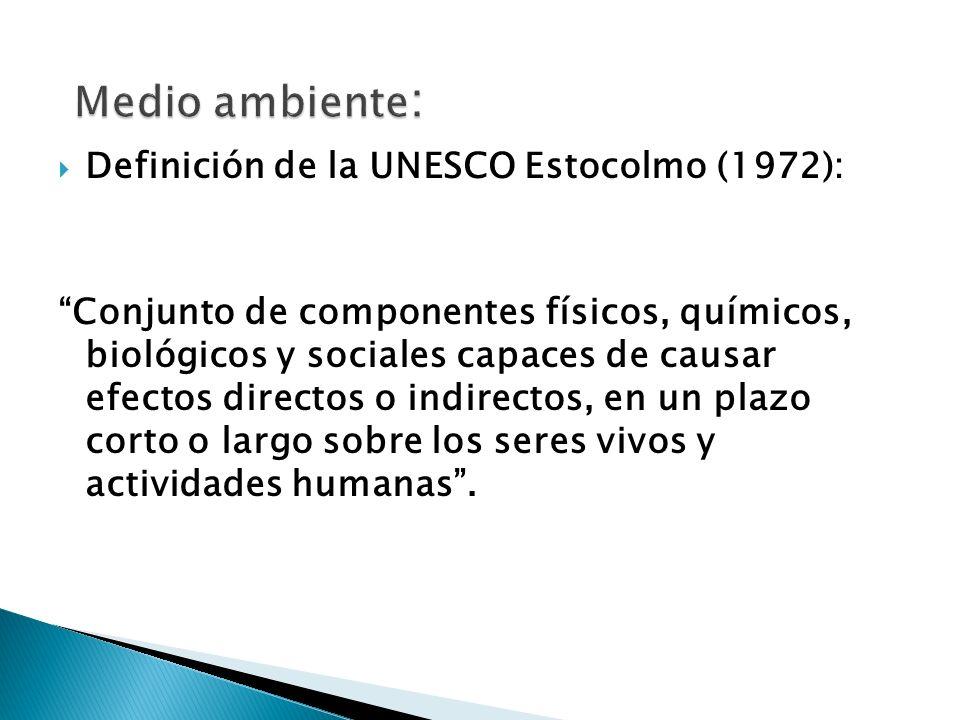 CONCEPTO DE MEDIO AMBIENTE Medio ambiente: