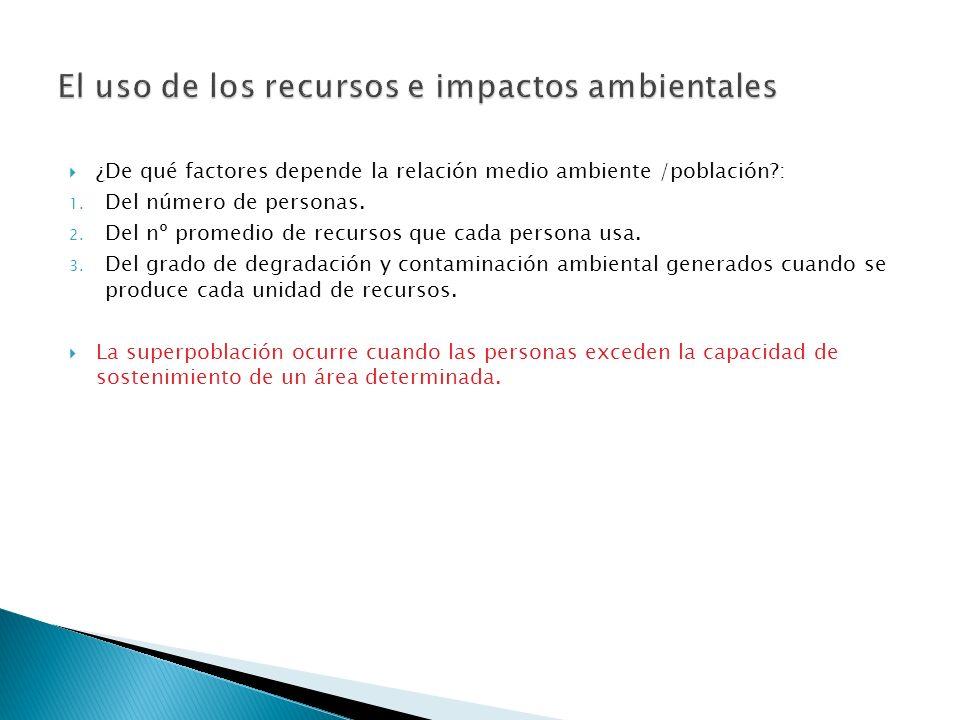 El uso de los recursos e impactos ambientales