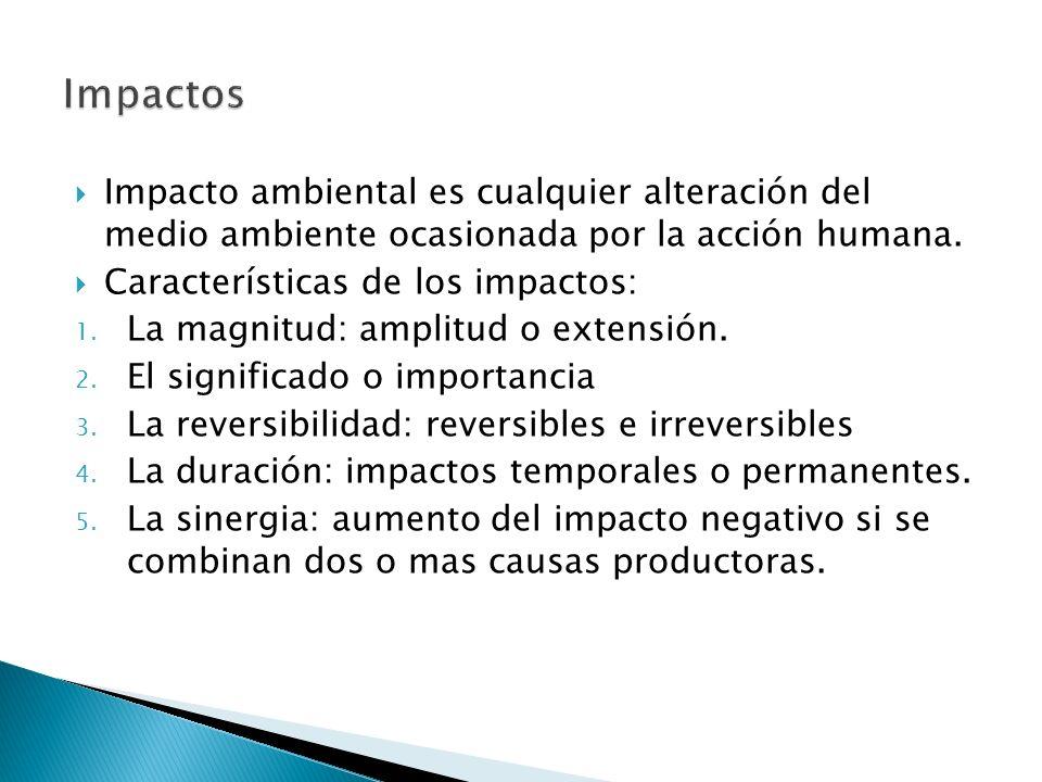 Impactos Impacto ambiental es cualquier alteración del medio ambiente ocasionada por la acción humana.