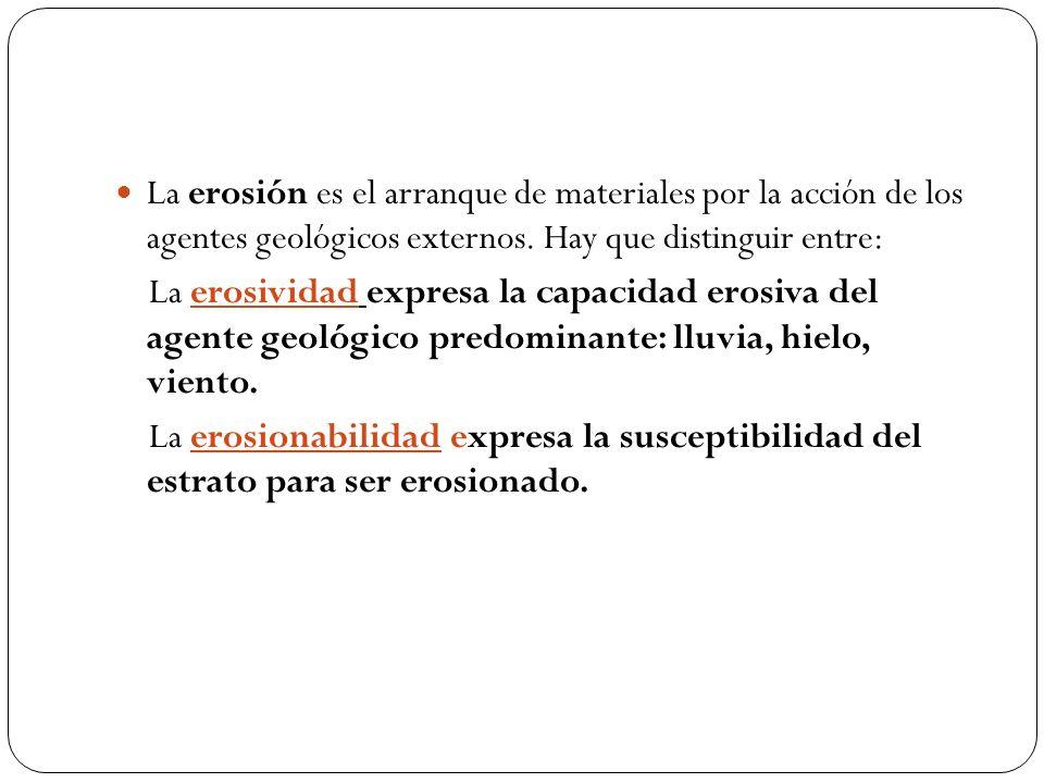 La erosión es el arranque de materiales por la acción de los agentes geológicos externos. Hay que distinguir entre: