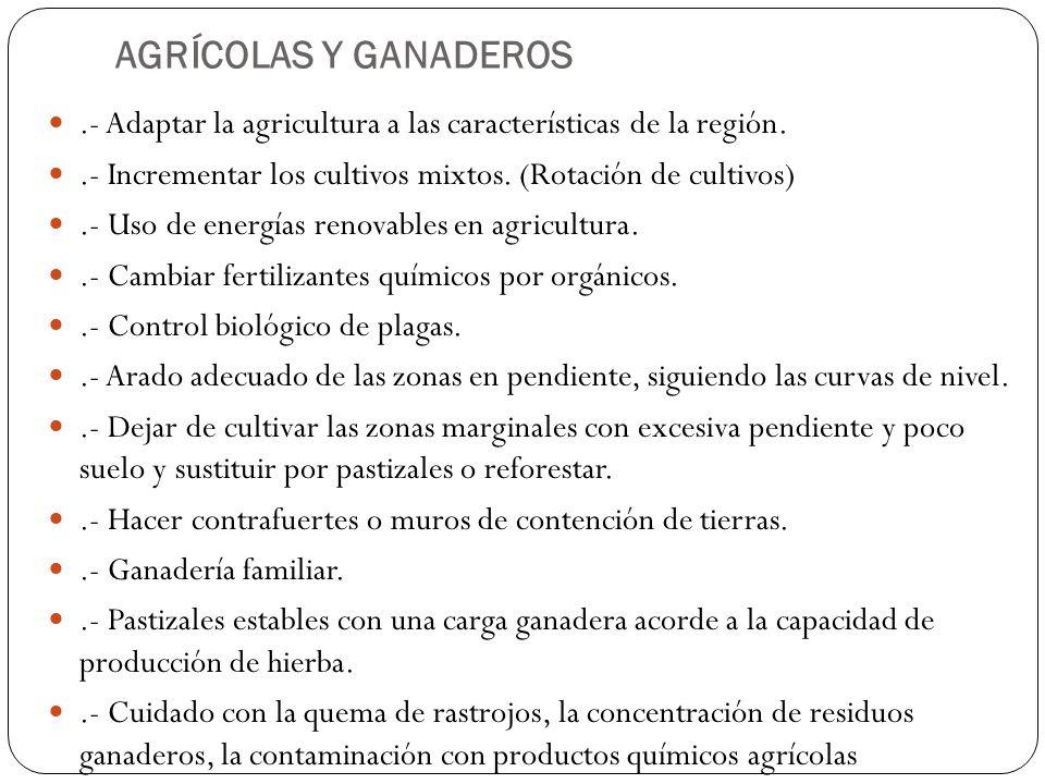 AGRÍCOLAS Y GANADEROS .- Adaptar la agricultura a las características de la región. .- Incrementar los cultivos mixtos. (Rotación de cultivos)