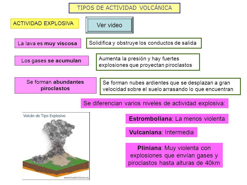 Se diferencian varios niveles de actividad explosiva: