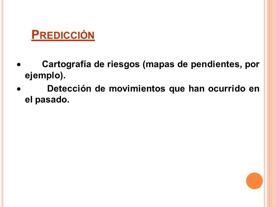 Predicción· Cartografía de riesgos (mapas de pendientes, por ejemplo).