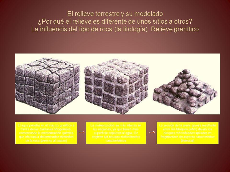 El relieve terrestre y su modelado ¿Por qué el relieve es diferente de unos sitios a otros La influencia del tipo de roca (la litología) Relieve granítico