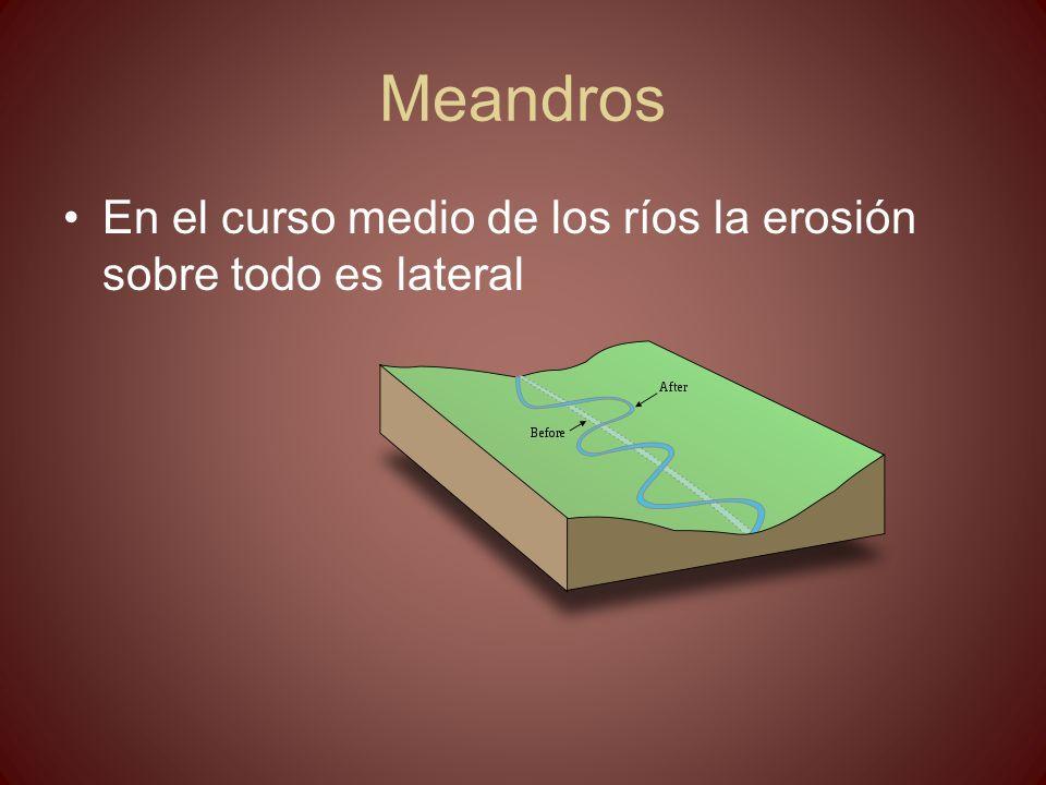 Meandros En el curso medio de los ríos la erosión sobre todo es lateral
