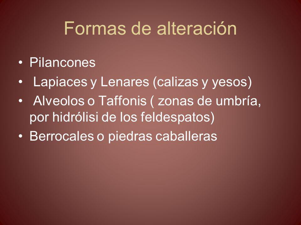 Formas de alteración Pilancones Lapiaces y Lenares (calizas y yesos)