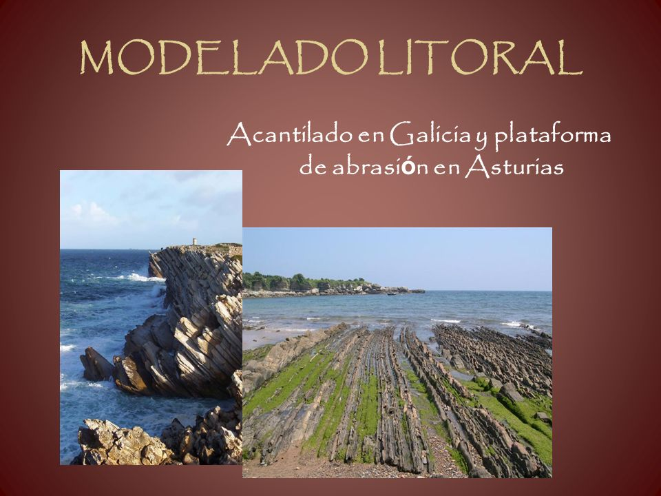 Acantilado en Galicia y plataforma de abrasión en Asturias