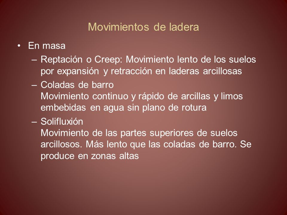 Movimientos de ladera En masa