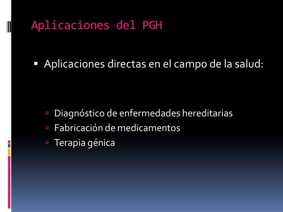 Aplicaciones del PGH Aplicaciones directas en el campo de la salud: