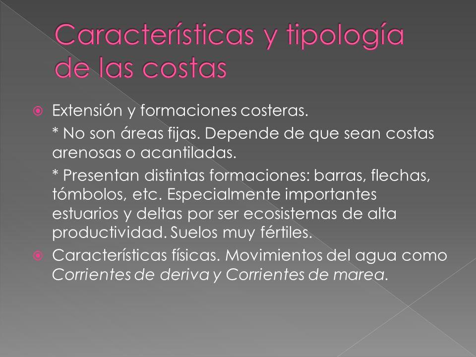 Características y tipología de las costas