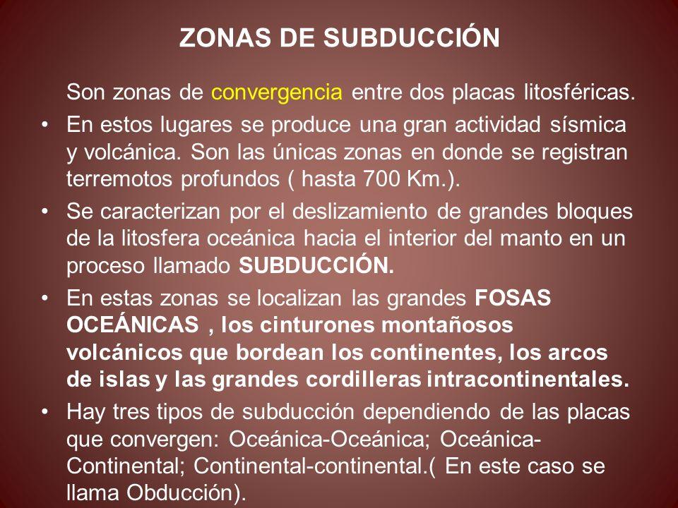 ZONAS DE SUBDUCCIÓNSon zonas de convergencia entre dos placas litosféricas.