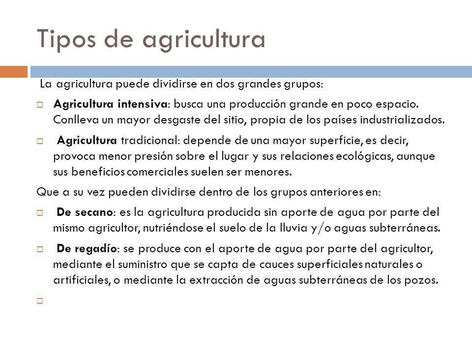 Tipos de agricultura La agricultura puede dividirse en dos grandes grupos: