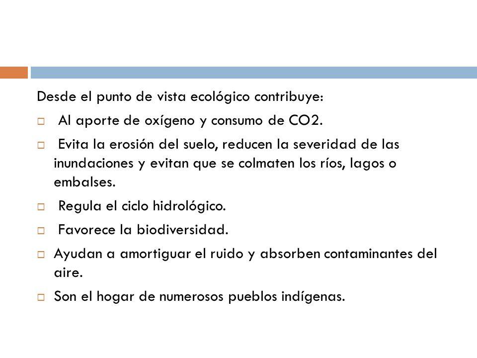 Desde el punto de vista ecológico contribuye: