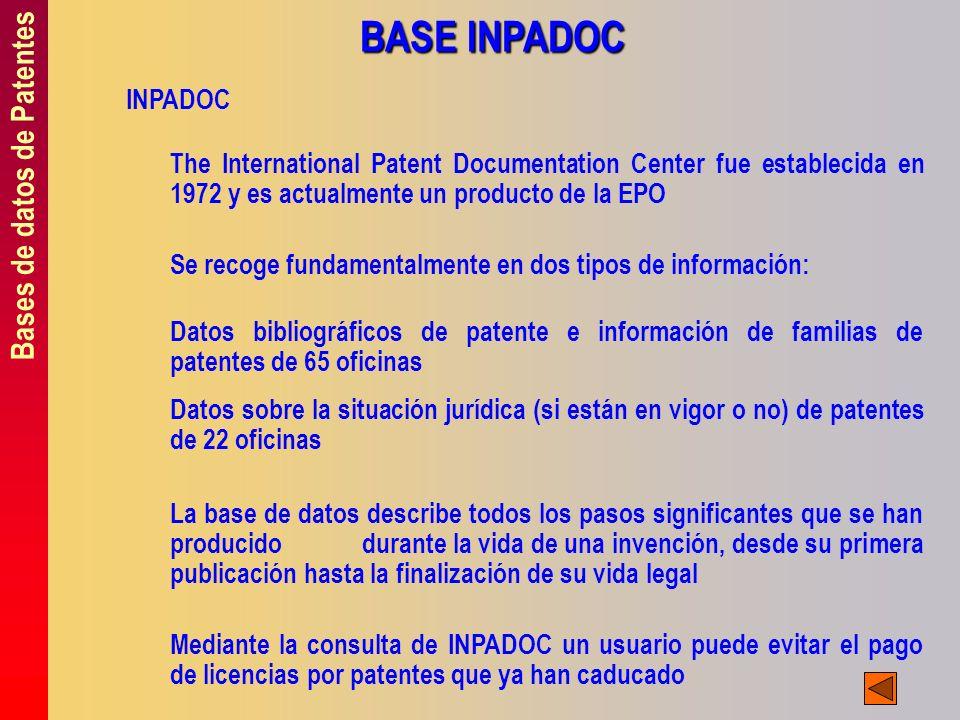 BASE INPADOC Bases de datos de Patentes INPADOC