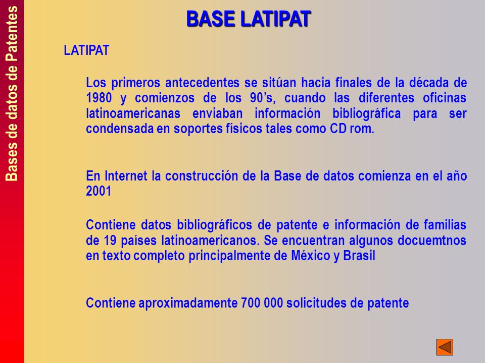 BASE LATIPAT Bases de datos de Patentes LATIPAT