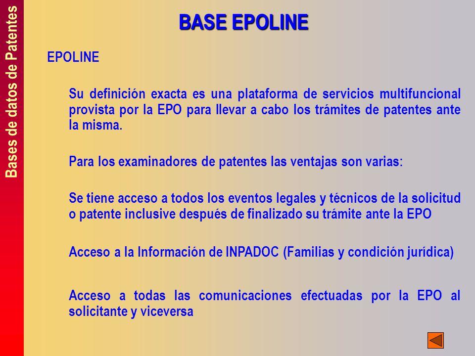 BASE EPOLINE Bases de datos de Patentes EPOLINE