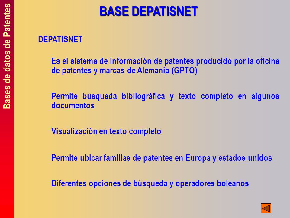BASE DEPATISNET Bases de datos de Patentes DEPATISNET