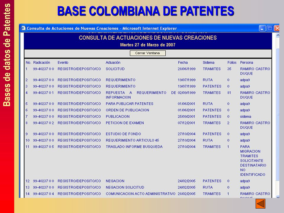 BASE COLOMBIANA DE PATENTES