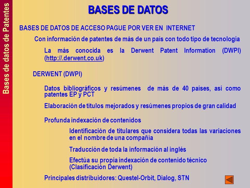 BASES DE DATOS Bases de datos de Patentes