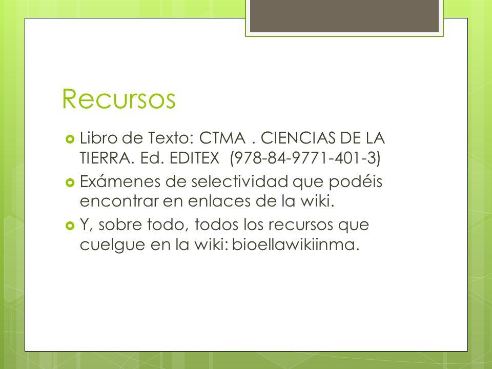 RecursosLibro de Texto: CTMA . CIENCIAS DE LA TIERRA. Ed. EDITEX (978-84-9771-401-3)