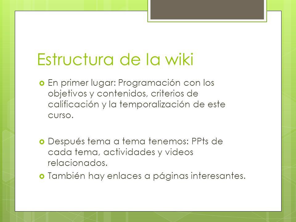 Estructura de la wikiEn primer lugar: Programación con los objetivos y contenidos, criterios de calificación y la temporalización de este curso.