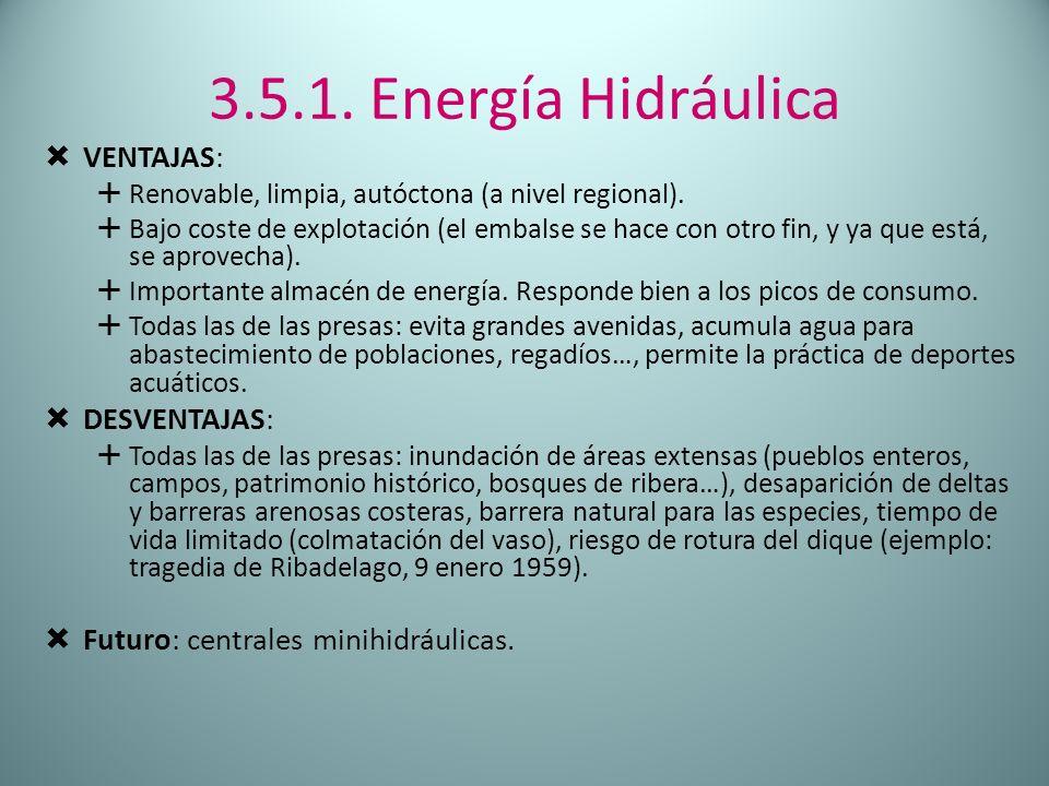 3.5.1. Energía Hidráulica Ventajas: Desventajas: