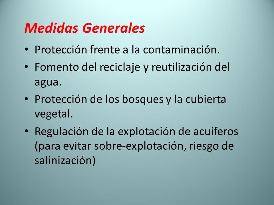 Medidas Generales Protección frente a la contaminación.